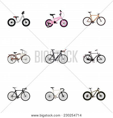 Set Of Bike Realistic Symbols With Balance, Wooden, Triathlon Bike And Other Icons For Your Web Mobi