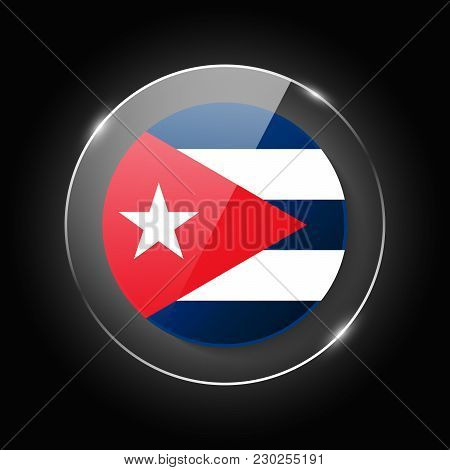 Cuba National Flag. Application Language Symbol. Country Of Manufacture Icon. Round Glossy Isolated