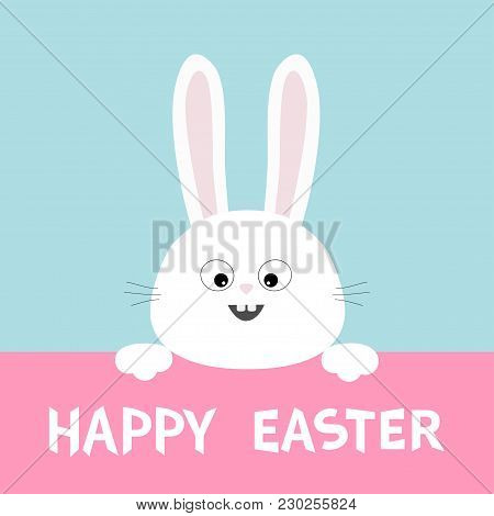 White Bunny Rabbit Head Face Hanging On Pink Paper Board. Happy Easter. Paw Print. Big Ears. Cute Ca