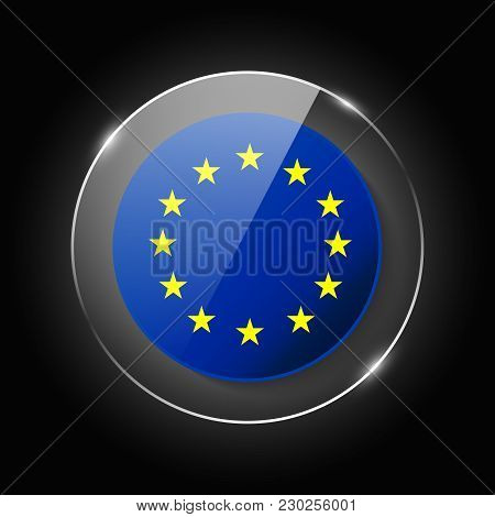 European Union Flag. Application Language Symbol. Country Of Manufacture Icon. Round Glossy Isolated