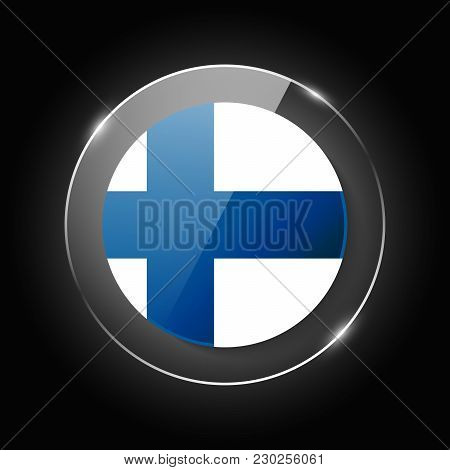 Finland National Flag. Application Language Symbol. Country Of Manufacture Icon. Round Glossy Isolat
