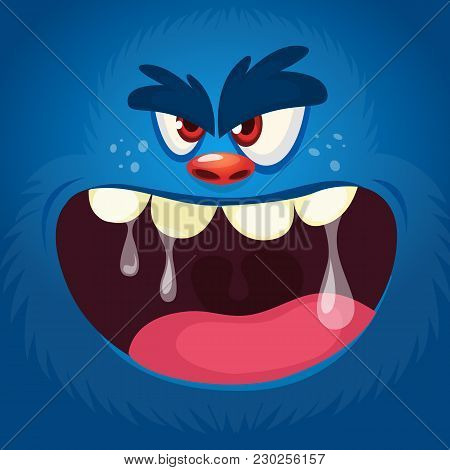 Angry Grim Monster Screaming. Cartoon Vector Illustration Of Spooky Monster Face Avatar. Big Set Of