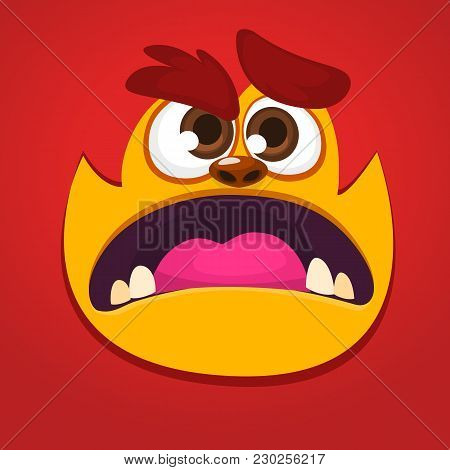 Cool Red Monster Animal Face. Cartoon Vector Illustration Of Yeti Or Bigfoot