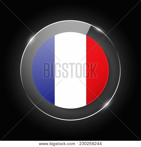 France National Flag. Application Language Symbol. Country Of Manufacture Icon. Round Glossy Isolate