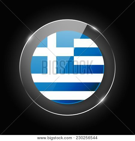 Greece National Flag. Application Language Symbol. Country Of Manufacture Icon. Round Glossy Isolate