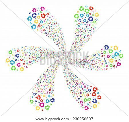 Bright Recycle Arrows Cyclonic Spin. Suggestive Flower With Six Petals Created From Scatter Recycle