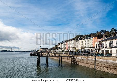 Cobh, Ireland - November 9, 2017: Waterfront Of Cobh A Sunny Morning. Cobh Is A Picturesque Irish To