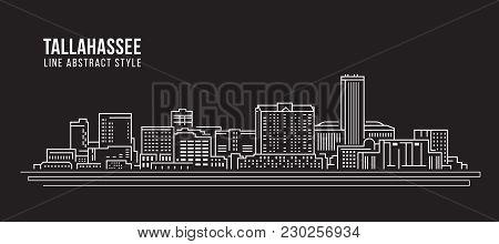 Cityscape Building Line Art Vector Illustration Design - Tallahassee City
