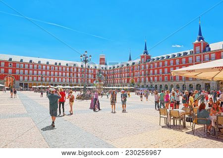 Main Square (plaza Mayor) With Tourists And People, Was Built During Philip Iii's Reign (1598–1621)