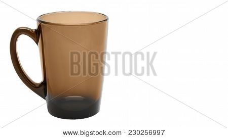 Empty Glass Coffee Latte Cup Isolated On White Background. Copy Space, Template.