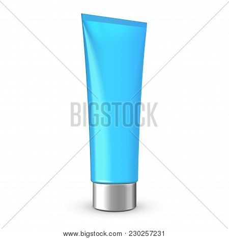 Tube Of Cream Or Gel Blue Clean With Gray Silver Chrome Lid. Ready For Your Design. Product Packing