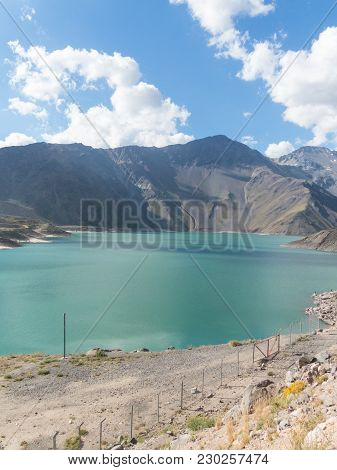 Mountains And Peaks Landscape. Lake Of Yeso. Cajon Del Maipo. Santiago Of Chile