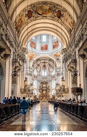 Salzburg, Austria - August 6, 2017:  Interior View Of The Cathedral Of Salzburg