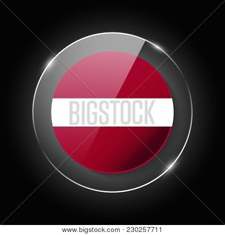 Latvia National Flag. Application Language Symbol. Country Of Manufacture Icon. Round Glossy Isolate