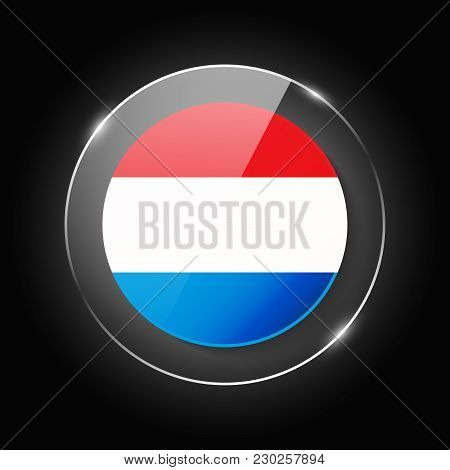 Luxembourg National Flag. Application Language Symbol. Country Of Manufacture Icon. Round Glossy Iso