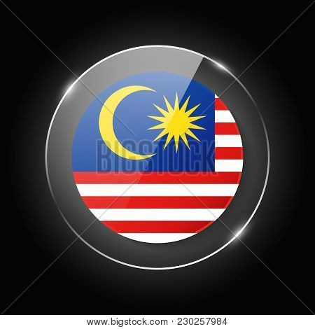 Malaysia National Flag. Application Language Symbol. Country Of Manufacture Icon. Round Glossy Isola