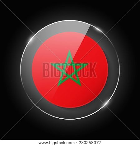Morocco National Flag. Application Language Symbol. Country Of Manufacture Icon. Round Glossy Isolat