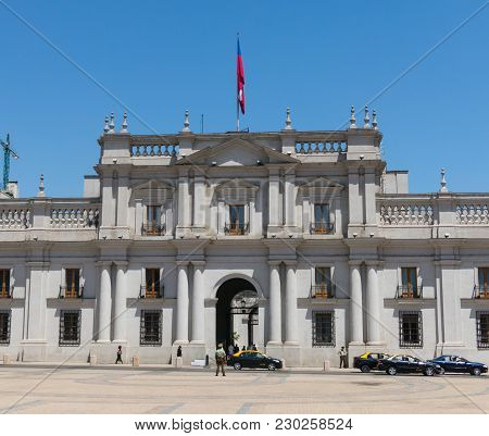Santiago De Chile, Chile - January 26, 2018: View Of The Presidential Palace, Known As La Moneda, In