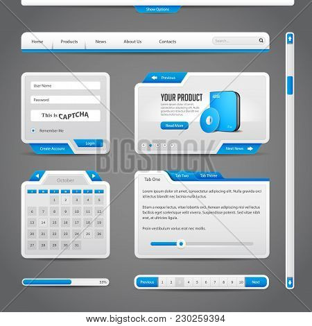 Web Ui Controls Elements Gray And Blue On Dark Background : Menu, Accordion, Tabs, Login Form, Searc
