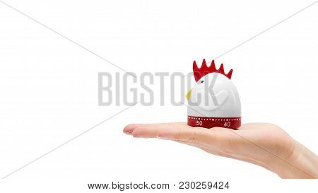 Kitchen Timer In Hand Isolated On White Background. Copy Space, Template.