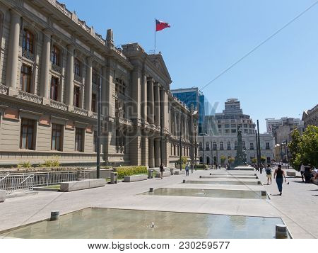 Santiago De Chile, Chile - January 26, 2018: View Of The Palace Of Courts Of Justice Of Santiago De