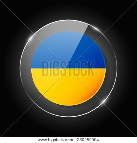 Ukraine National Flag. Application Language Symbol. Country Of Manufacture Icon. Round Glossy Isolat