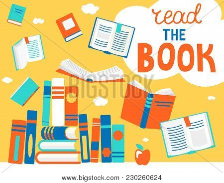 Close And Open Books In Different Positions With Bubble Read The Book. Knowledge, Learning, Educatio