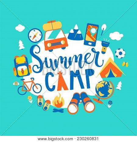 Summer Camp Concept With Handdrawn Lettering, Camping And Travelling On Holiday With Different Equip
