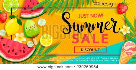 Super Sale Flyer With Gourmet Food To Summer Time Such As Ice Cream, Watermelon, Strawberries.vector