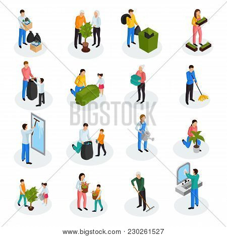 Spring Cleaning Works Isometric Icons Collection With Floor Mopping Seedling Planting Garbage Collec