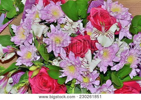Beautiful Colorful Spring Floral Background - Delicate Bouquet Of Pink Roses, Chrysanthemums And Whi