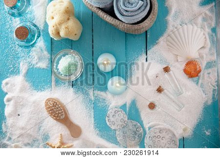 Spa And Wellness Setting With Flowers And Towels. Dayspa Nature Products