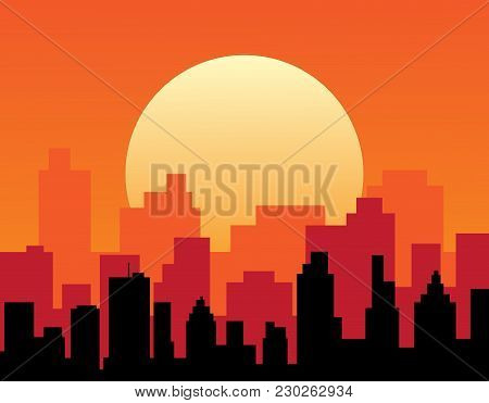 City View With Urban Elements. Evening Cityscape Vector Illustration. Sunset Landscape Concept. City