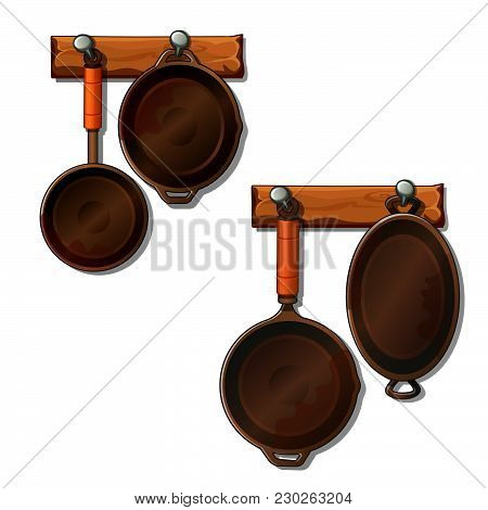 A Set Of Kitchen Utensils Made Of Cast Iron. Vector.