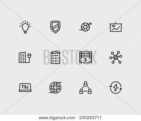 Commerce Icons Set. Money And Commerce Icons With Ecommerce, Integrity Value And Web. Set Of Element