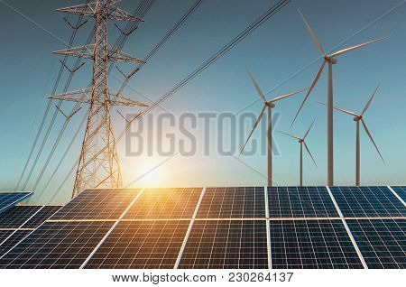 Wind Turbine With Solar Panels And Electricity High Voltage . Concept Clean Energy