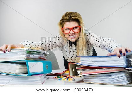 Mobbing At Work, Bad Job Relations Concept. Angry Mad Bossy Businesswoman Being Furious Sitting Work