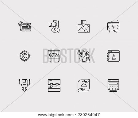 Search Icons Set. Local Seo And Search Icons With Blog Website, Testing And Hosting. Set Of Elements
