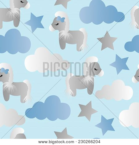 Seamless Pattern With A Cartoon Cute Toy Pony, Clouds And Stars On A Blue Background