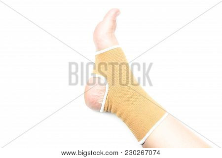 Woman With Ankle Support, Foot Injury Isolated On White Background