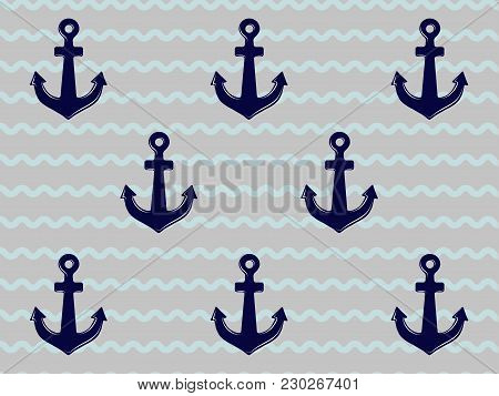 Blue And Grey Stripped Background With Anchors