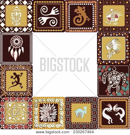 Frame With Squares Pattern With Imitation Of Elements Of Rock Art Of Ancient Indians, Aztecs, Caveme