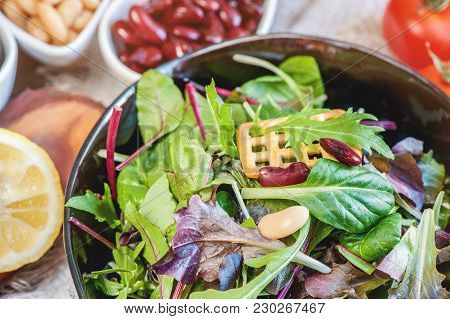 Salad Diet For The Weight Loss Of Leaves Of Lollo Rosso, Watercress And Other Green Herbs, Tomatoes,