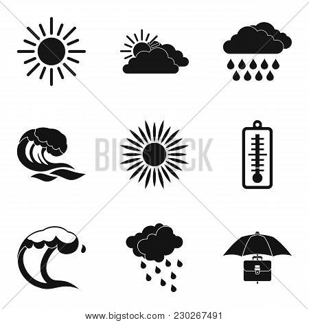 Meteorological Icons Set. Simple Set Of 9 Meteorological Vector Icons For Web Isolated On White Back