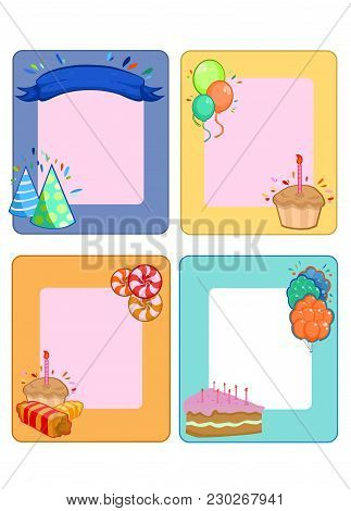 Colorful Birthday Party Invitation Cards Set With Place For Text Balloons Desserts Sweet Products Ri