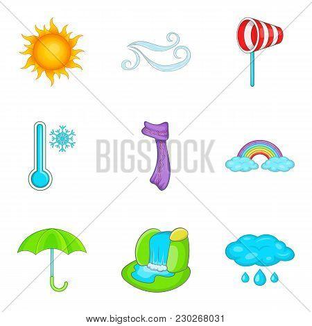 Predicting The Weather Icons Set. Cartoon Set Of 9 Predicting The Weather Vector Icons For Web Isola
