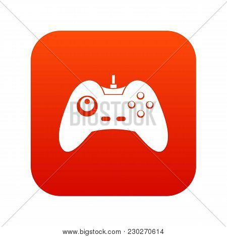 One Joystick Icon Digital Red For Any Design Isolated On White Vector Illustration