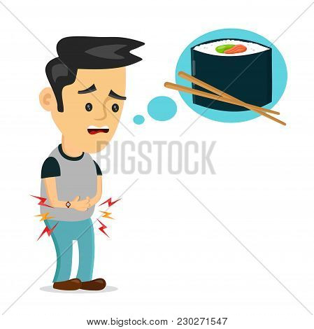 Young Suffering Sad Man Is Hungry. Thinks About Food, Fast Food, Sushi Roll. Vector Flat Cartoon Ill