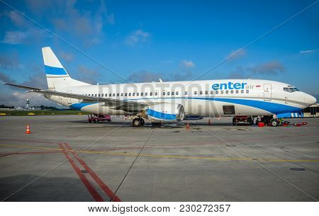 Warsaw, Poland - August 8, 2011: Boeing 737-800 Of Enter Air Charter Airline At Chopin Airport In Wa