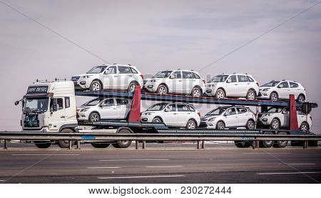 Isfahan Province, Iran - October 19, 2016: Lifan Cars From China Transported By Truck On The Road In